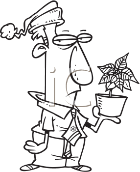 Royalty Free Clipart Image of a Man Pointing a Poinsettia