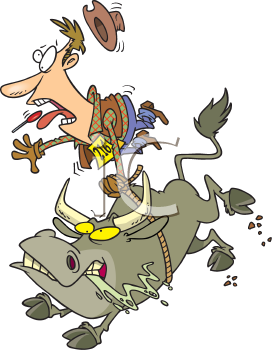 Royalty Free Clipart Image of a Bull Rider