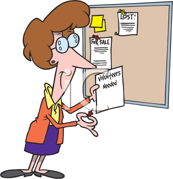 Royalty Free Clipart Image of a Woman Pinning a Notice to a Bulletin Board