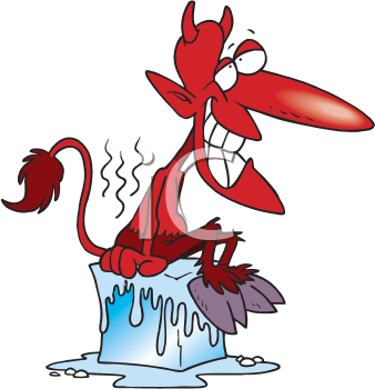 Royalty Free Clipart Image of a Devil Cooling Off on a Block of Ice