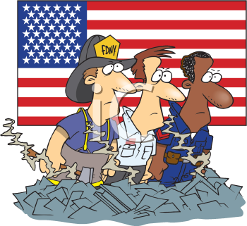 Royalty Free Clipart Image of a Emergency Services Workers in Front of an American Flag