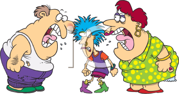 Royalty Free Clipart Image of an Arguing Family
