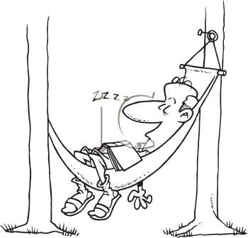 Royalty Free Clipart Image of a Man Sleeping in a Hammock