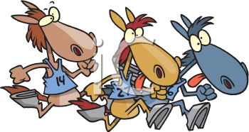 Royalty Free Clipart Image of a Horse Race