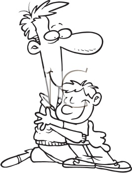 Royalty Free Clipart Image of a Child Hugging a Man