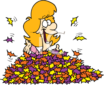 Royalty Free Clipart Image of a Girl in Leaves