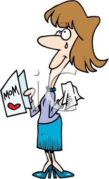 Royalty Free Clipart Image of a Woman Reading a Mother's Day Card