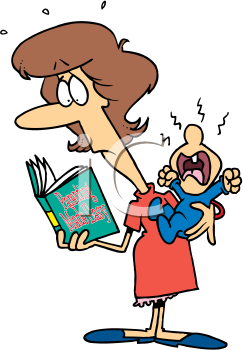 Royalty Free Clipart Image of a Woman With a Crying Baby Reading a Book