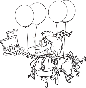 Royalty Free Clipart Image of a Party Lady With Cake and Balloons