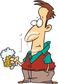 Royalty Free Clipart Image of a Man With a Beer