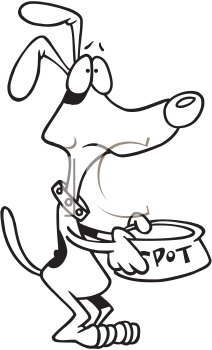 Royalty Free Clipart Image of a Dog Begging for Food