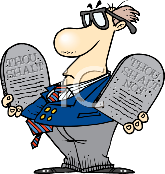 Royalty Free Clipart Image of a Man With Stone Tablets