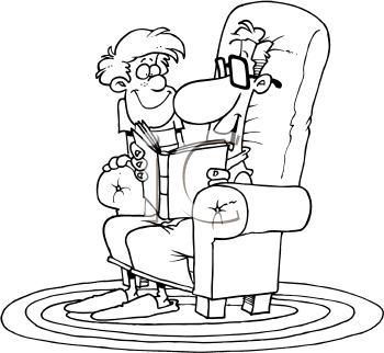 Royalty Free Clipart Image of a Man Reading a Story to a Little Boy
