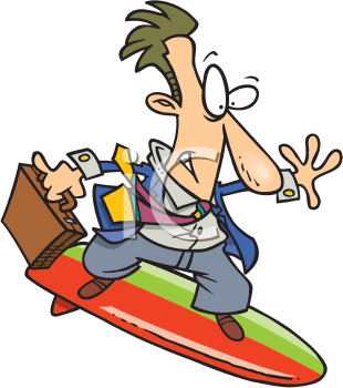 Royalty Free Clipart Image of a Businessman on a Surfboard