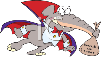 Royalty Free Clipart Image of a Trick-or-Treating Elephant
