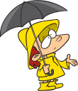 Royalty Free Clipart Image of a Boy With an Umbrella