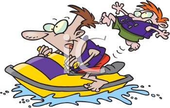 Royalty Free Clipart Image of People on a Seadoo