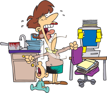 Royalty Free Clipart Image of a Frustrated Woman With a Crying Baby