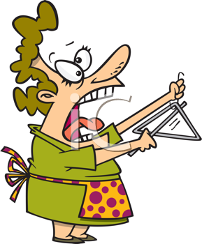 Royalty Free Clipart Image of a Woman Ringing a Dinner Bell