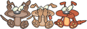 Royalty Free Clipart Image of See No Evil, Hear No Evil, Speak No Evil Dogs