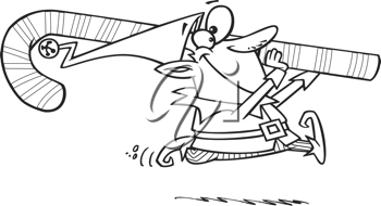 Royalty Free Clipart Image of an Elf Running With a Candy Cane