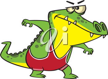 Royalty Free Clipart Image of an Alligator Wrestler