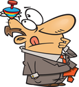 Royalty Free Clipart Image of a Businessman With a Top on His Head
