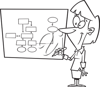 Royalty Free Clipart Image of a Woman at a Board