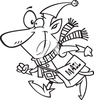 Royalty Free Clipart Image of an Elf Delivering Mail