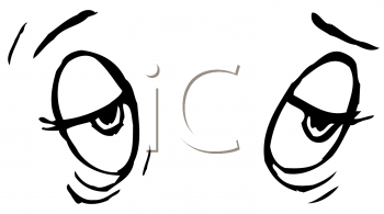 Royalty Free Cliart Image of Eyes Half Open