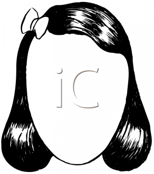 Royalty Free Clipart Image of a Blank Face for a Woman With a Pageboy and a Ribbon
