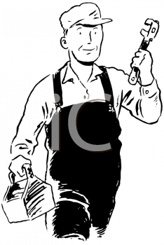 Royalty Free Clipart Image of a Plumber