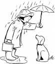 Royalty Free Clipart Image of a Girl Protecting Her Dog From the Rain With an Umbrella