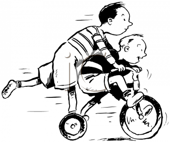 Royalty Free Clipart Image of Two Boys Playiing on a Tricycle