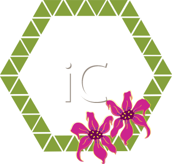 Royalty Free Clipart Image of a Flower Polygon Frame