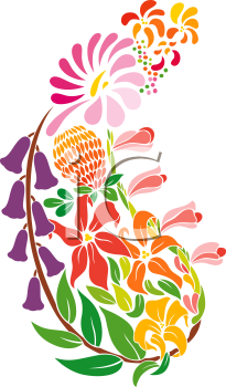 Royalty Free Clipart Image of Paisley Flowers