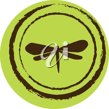 Royalty Free Clipart Image of a Dragonfly on a Circle