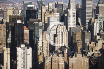 Royalty Free Photo of an Aerial View of Manhattan Buildings in New York City