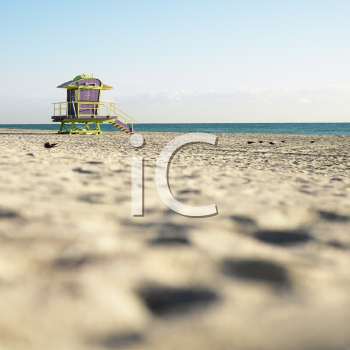Royalty Free Photo of an Art Deco Lifeguard Rower on a Deserted Beach in Miami, Florida, USA