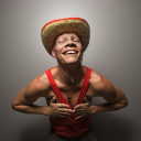 Royalty Free Photo of a Man Wearing a Straw Hat and Touching His Chest