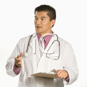 Royalty Free Photo of a Male Doctor Holding a Clipboard Talking and Gesturing
