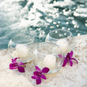 Royalty Free Photo of Three Candles and Three Purple Orchids by a Pool
