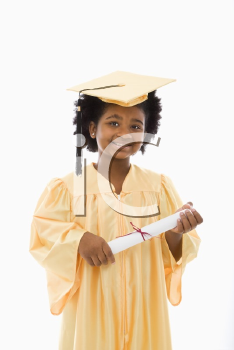 African American girl in graduation robe and hat holding diploma and smiling at viewer.