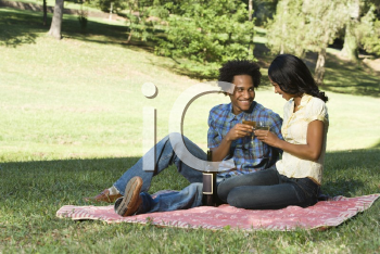 Royalty Free Photo of a Couple Having a Romantic Picnic in a Park Toasting Wine