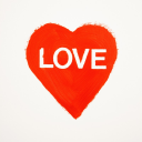 Red heart shape with text love.