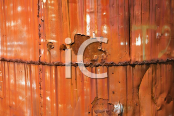 Royalty Free Photo of a Close-up of a Metal Orange Container
