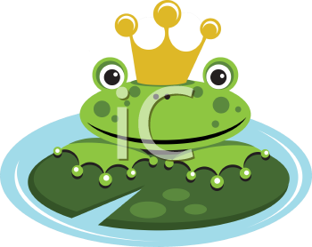 Royalty Free Clipart Image of a Frog Wearing a Crown in a Pond on a Lily Pad