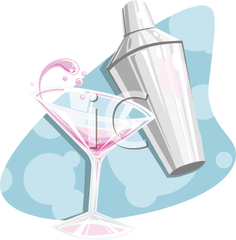 Royalty Free Clipart Image of a Martini Glass and Shaker