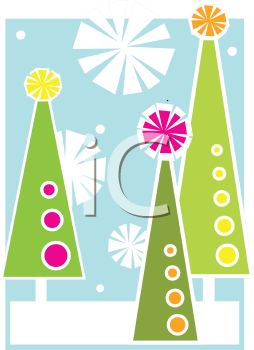 Royalty Free Clipart Image of Christmas Trees