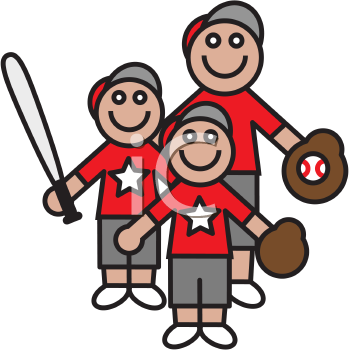Royalty Free Clipart Image of a Father and Sons with Baseball Equipment